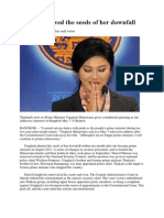 Yingluck Sowed the Seeds of Her Downfall