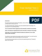 Verbal Reasoning Test1 Questions