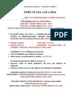 Admitere Clasa a Ix-A 2014