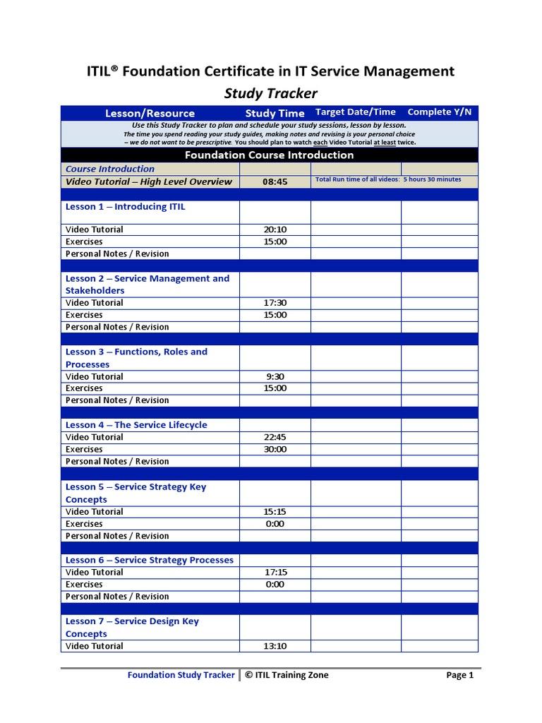 Itil Foundation Study Tracker Itil It Service Management