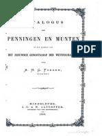 Catalogus der penningen en munten in het kabinet van het Zeeuwsch Genootschap der Wetenschappen / door A.H.G. Fokker