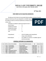 First Merit List of Selected Candidates