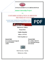 A summer internship Project ON CUSTOMER SATISFACTION ON SERVICES PROVIDED BY ICICI BANK