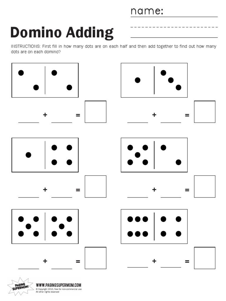 Domino Adding Worksheet Blank domino addition worksheet