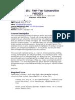 ENGL101 Syllabus - Pilot Curriculum, Fall 2012