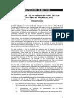 Exposición de Motivos del Proyecto de Ley de Presupuesto del Sector Público para el Año Fiscal 2010
