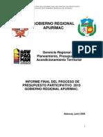 Informe Final del Proceso de Presupuesto Participativo para el 2010