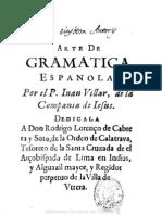 1651 - Arte de La Lengua Española - Iván Villar, 1651