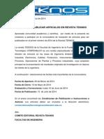 Apertura Convocatoria Revista TEKNOS 2014-1