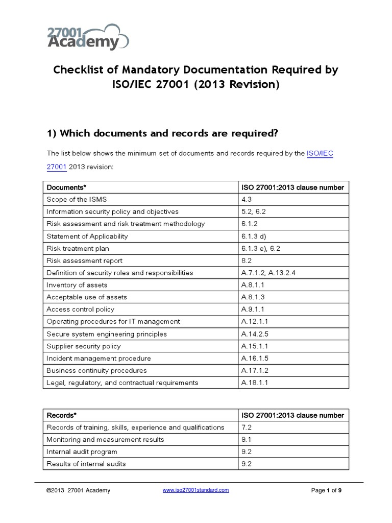 Checklist of Mandatory Documentation Required by ISO 27001 2013 ...