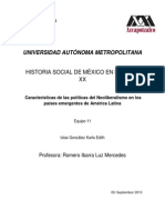 Características de Las Políticas Del Neoliberalismo en Los Paises Emergentes de America Latina
