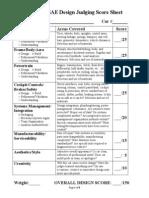 FSAE Design Score Sheet