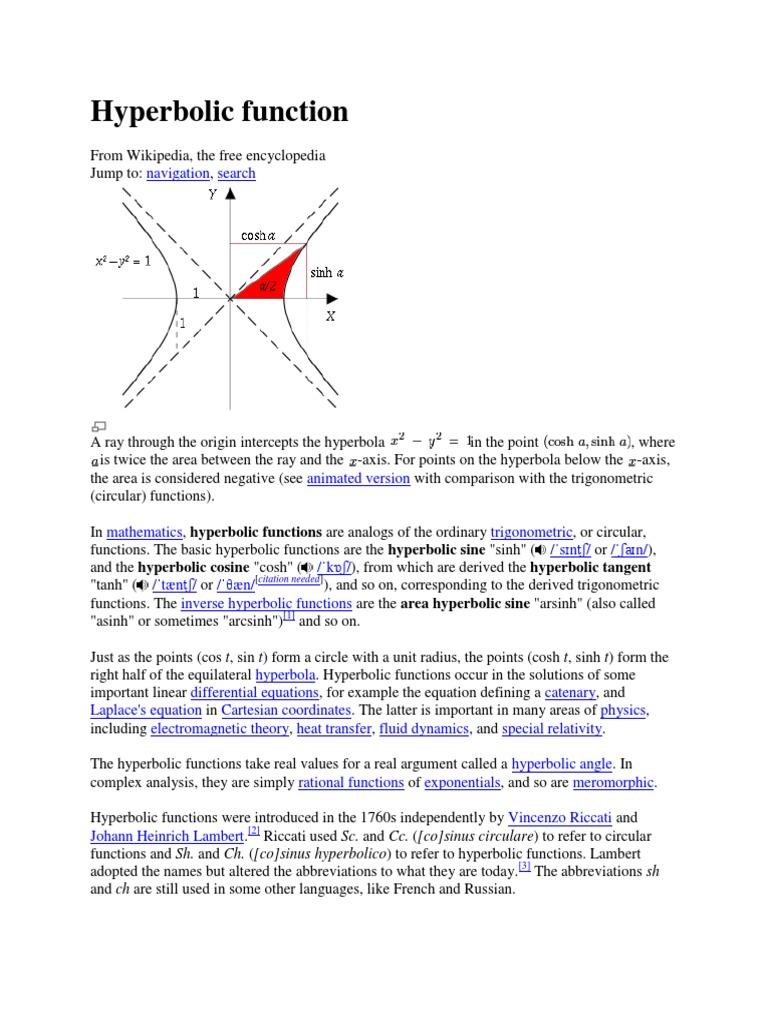 Hyperbolic Functionpedia Trigonometric Functions