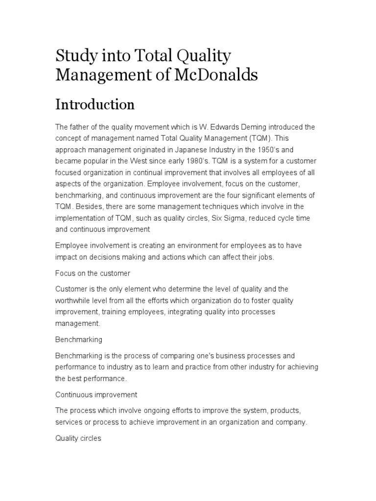 tqm case study mcdonald