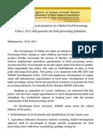 Odisha Food Processing Subsidy 2013