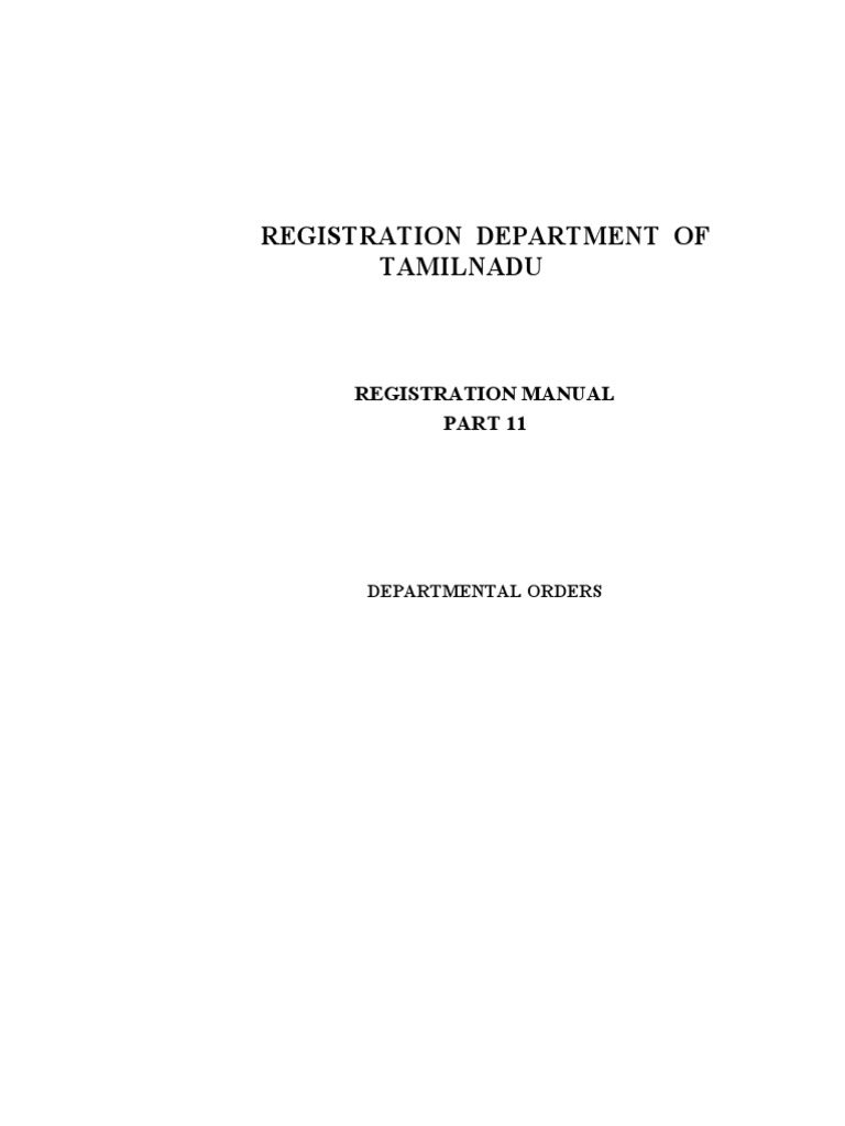 Registration Department Of Tamilnadu