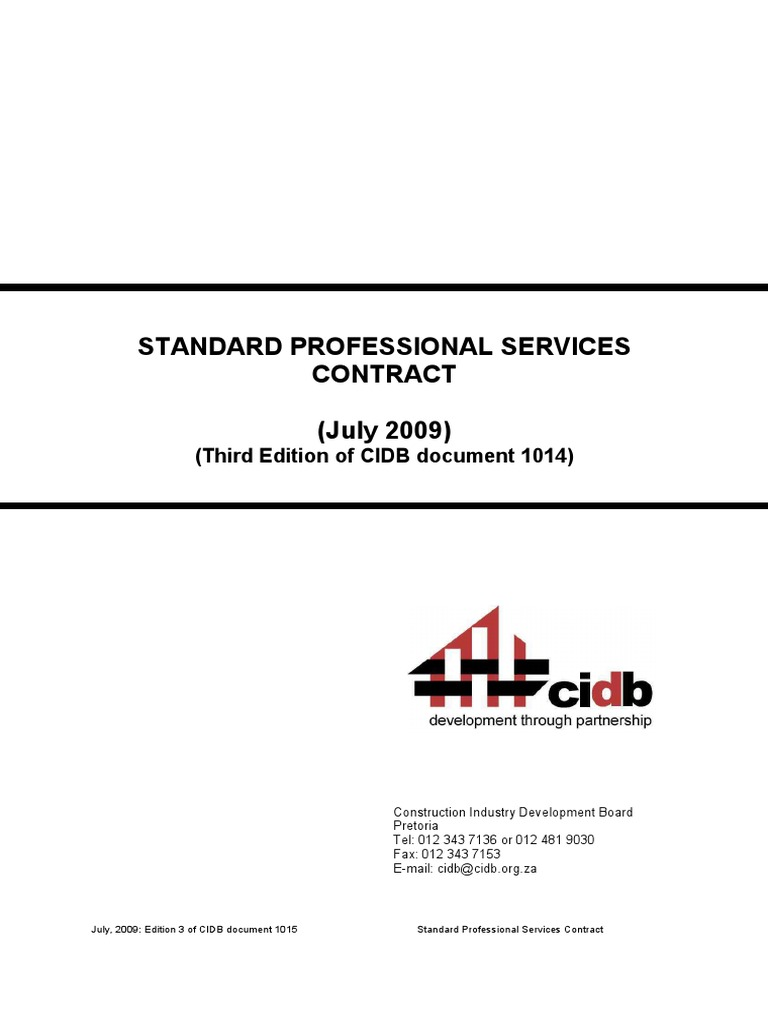 Standard Professional Services Contract July 2009