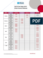 Pakistan Ielts Calendar 2013