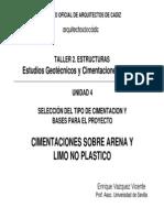 4. Taller Práctico. Cimentación Sobre Arena y Limo No Plástico