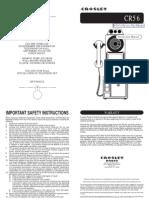 Crosley Pay Phone CR56 User Manual - www.JFretro.com