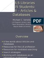 LIS Orientation Winter 2008 Part II Articles and Databases
