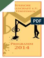 Jahresprogramm 2014 der Musischen Gesellschaft