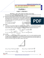 JEE Advanced 2014 Paper I PHYSICS Paper Answer Solutions