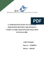 A Comparative Study of Customer Perception Between Dsk Hyosung 250R Comet and Kawasaki Ninja 250 R