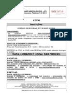 Edital Concurso Mimoso Do Sul