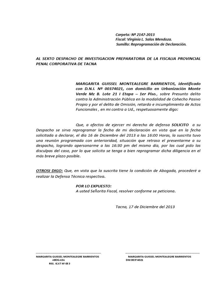 Escrito Solicita Reprogramacion de Declaracion