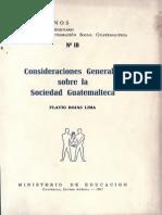 Rojas Lima - Consoderaciones Generales Sobre La Sociedad Guatemalteca