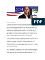 U.S. Senate Candidate David Carlson's Letter to Minnesotans  #Carlson4MN