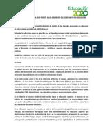Opinión de Educación2020 Sobre Discurso 21 Mayo 2014
