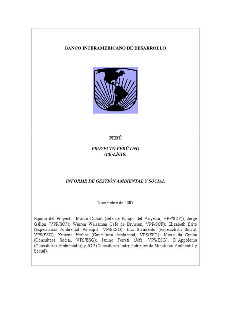 Peru LNG Project (PE-L1016)- Environmental and Social Impact Report ...