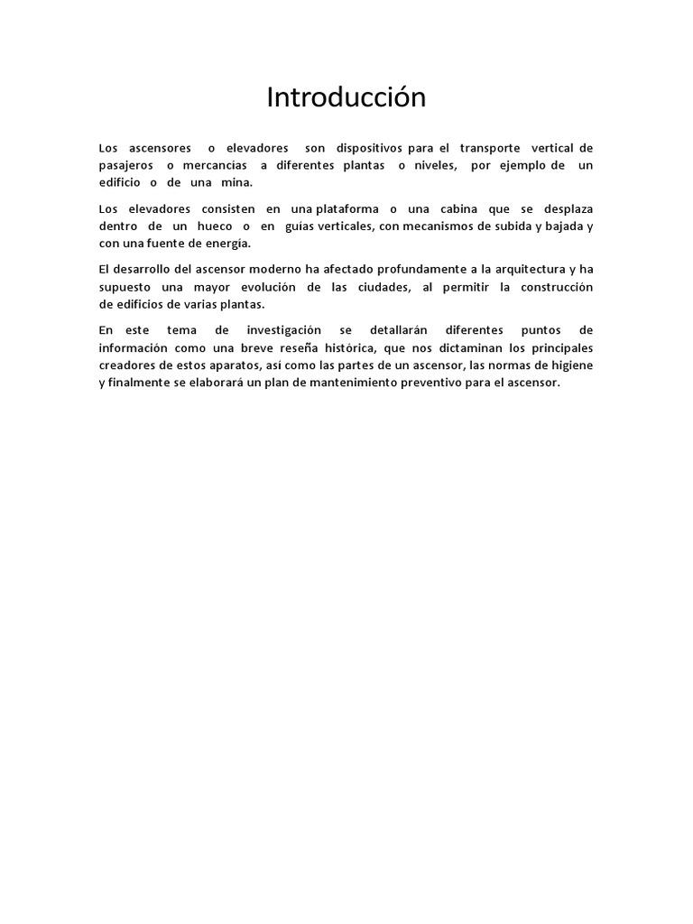 Informe Elevadores, Mantenimiento.docx