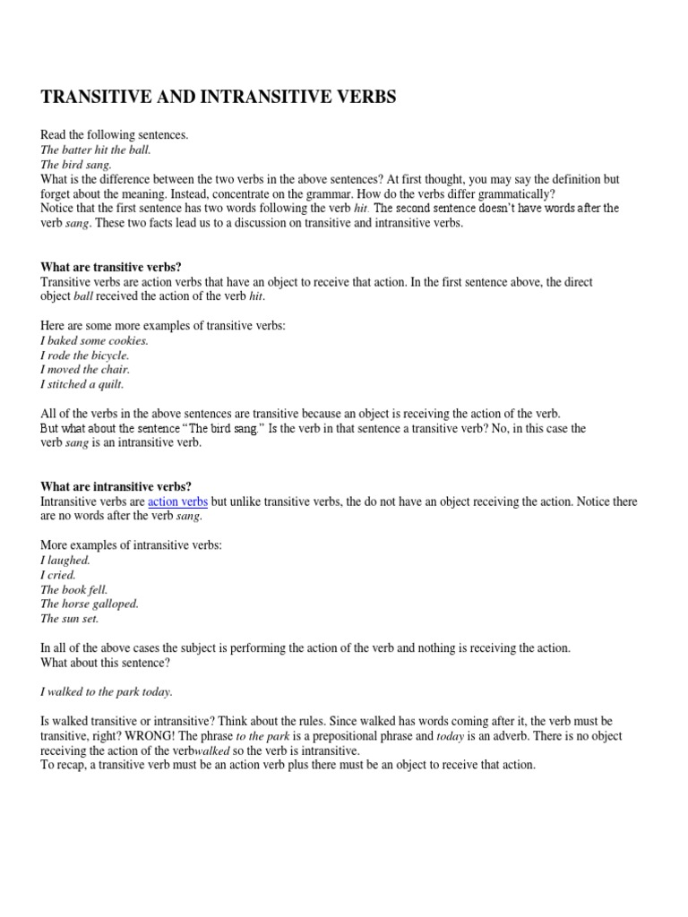 worksheet Action And Linking Verb Worksheets transitive and intransitive verbs