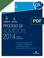 Ofertas Carreras Admision 2014