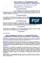 Reglamento Para La Concesion de Licencias Especiales de Pesca Maritima