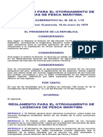 Reglamento Para El Otorgamiento de Licencias de Pesca Maritima.