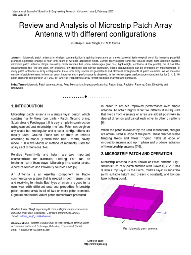 Review and Analysis of Microstrip Patch Array Antenna With Different