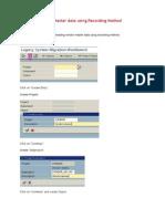 Uploading Vendor Master Data Using Recording Method
