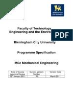 Birmingham Uni Prog Spec MSc Mech Eng v1