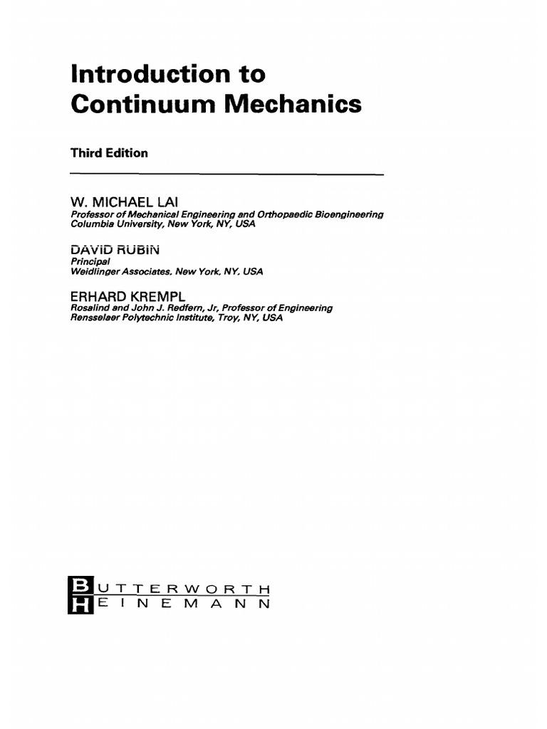 Lai W M , Rubin D , Krempl E Introduction to Continuum Mechanics (3Ed ,  1999)(T)(568S)