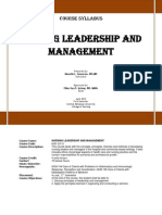 Syllabus Nursing Leadership and Management