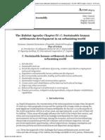 UN Sustainable Human Settlements Development in an Urbanizing World