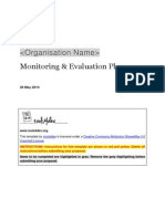 Monitoring and Evaluation ME Plan Template Multiple Projects