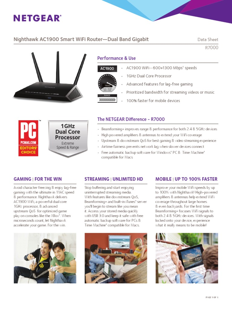 Netgear Nighthawk AC1900 Smart WiFi Router - Dual Band