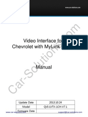 Chevrolet Mylink Video Interface Manual Electrical Wiring