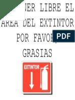 Mantener Libre El Area Del Extintor Por Favor