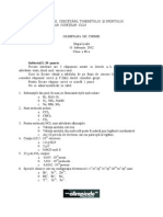 2012 Chimie Etapa Locala Subiecte Clasa a IX-A 0